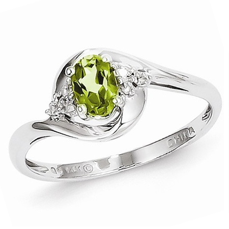 14kt White Gold 1/2 Ct Oval Bypass Peridot Ring with Diamond Accents