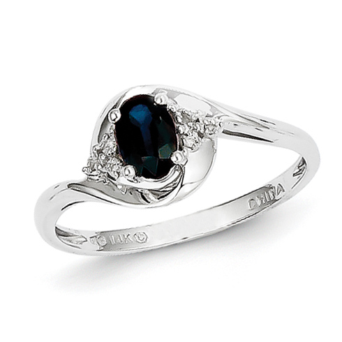 14kt White Gold 2/3 Ct Oval Sapphire Ring with Diamond Accents