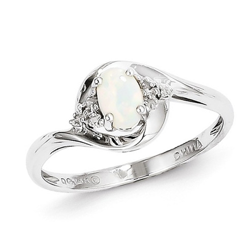 14kt White Gold 1/3 Ct Oval Opal Bypass Ring with Diamond Accents