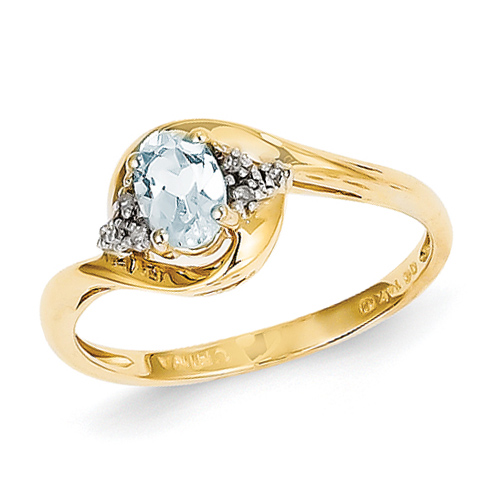 14kt Yellow Gold 2/5 Ct Oval Bypass Aquamarine Ring with Diamond Accents