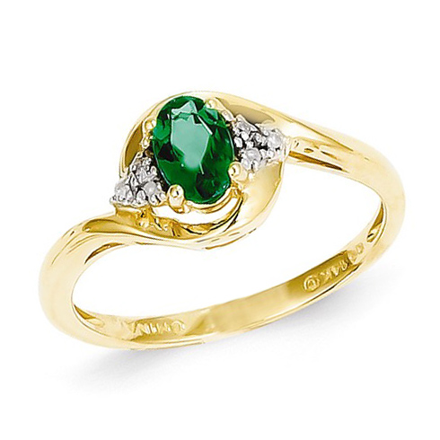 14kt Yellow Gold 1/2 ct Oval Emerald Bypass Ring with Diamonds