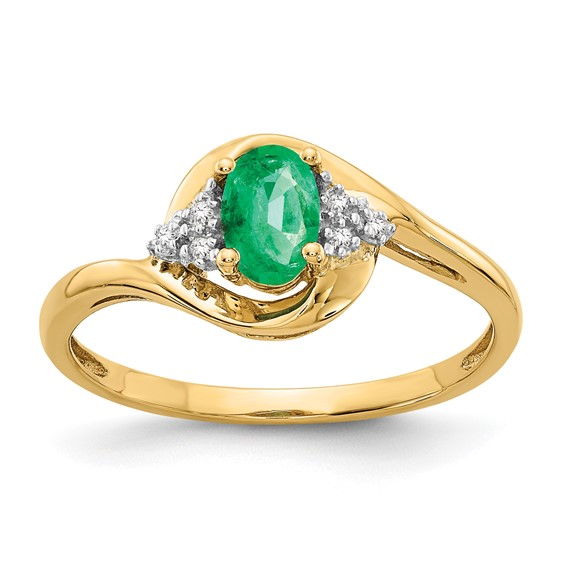 14kt Yellow Gold 1 2 ct Oval Emerald Bypass Ring with Diamonds XBS412