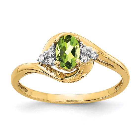 14kt Yellow Gold 1/2 Ct Oval Bypass Peridot Ring with Diamond Accents