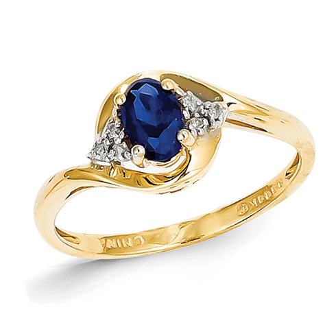 14kt Yellow Gold 2/3 Ct Oval Sapphire Ring with Diamond Accents