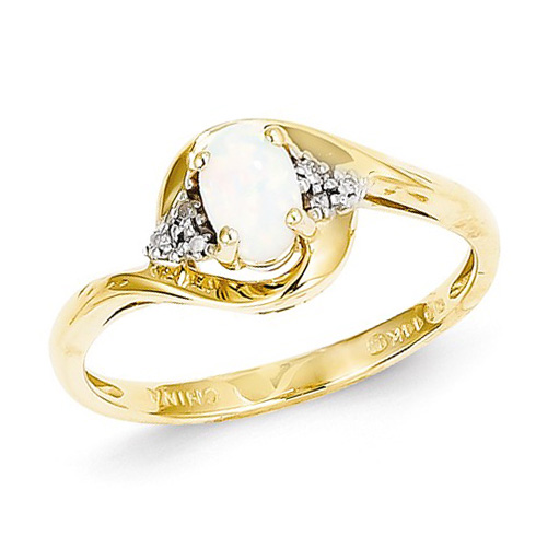 14kt Yellow Gold 1/3 Ct Oval Opal Bypass Ring with Diamond Accents