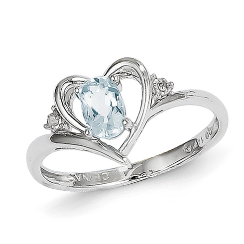 14kt White Gold 2/5 Ct Oval Aquamarine Heart Ring with Diamond Accent