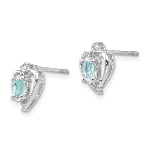 14kt White Gold Oval-cut Aquamarine Heart Earrings with Diamonds