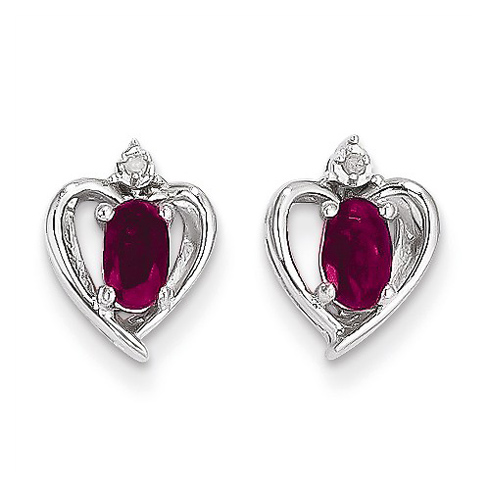 14kt White Gold Oval-cut Ruby Heart Earrings with Diamonds