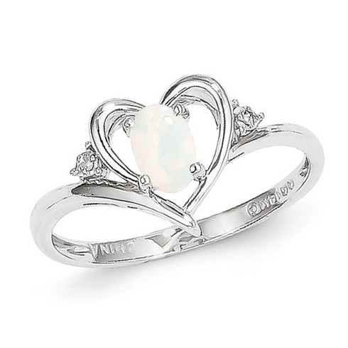 14kt White Gold 1/3 Ct Oval Opal Heart Ring with Diamond Accents