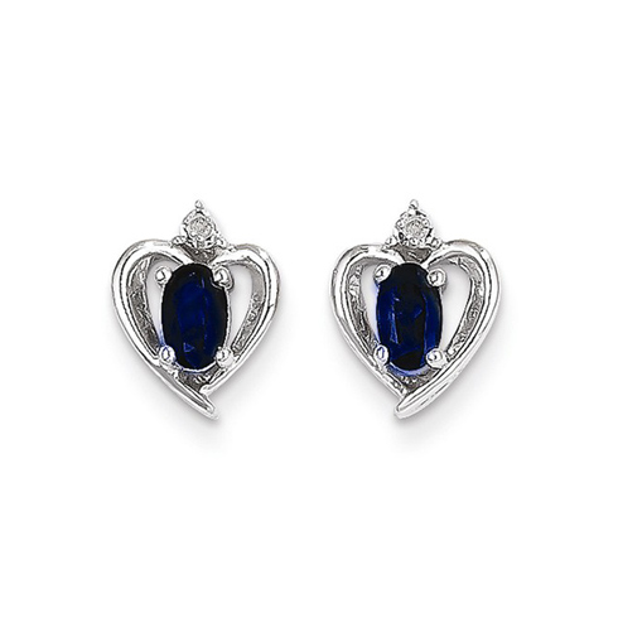 14kt White Gold 1/2 ct Oval-cut Sapphire Heart Earrings