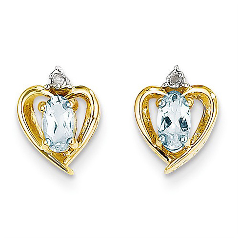 14kt Yellow Gold Oval-cut Aquamarine Heart Earrings with Diamonds