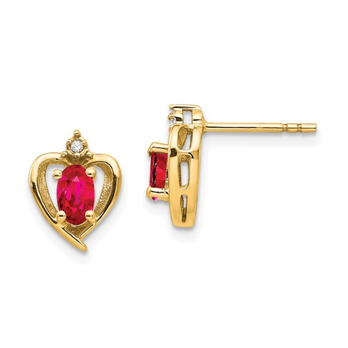 14kt Yellow Gold Oval-cut Ruby Heart Earrings with Diamonds