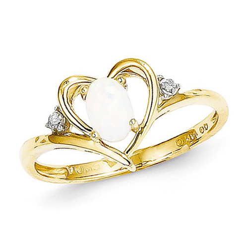 14kt Yellow Gold 1/3 Ct Oval Opal Heart Ring with Diamond Accents