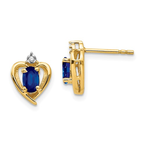 14kt Yellow Gold 1/2 ct Oval Sapphire Heart Earrings