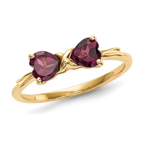 14kt Yellow Gold 1 ct Heart Rhodolite Garnet Bow Ring
