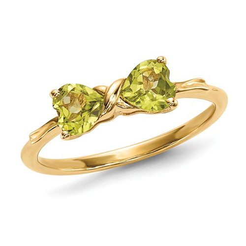 14kt Yellow Gold 1 ct Heart Peridot Bow Ring