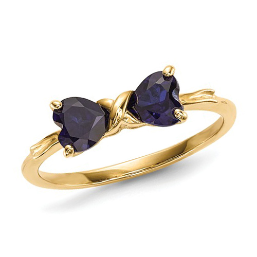 14k Yellow Gold 1 ct Created Sapphire Heart Bow Ring