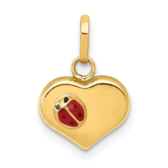 14kt Yellow Gold 3/8in Heart and Ladybug Charm