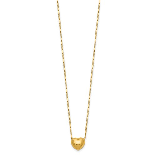 14kt Yellow Gold Heart Charm on 16in Necklace