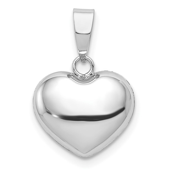 14kt White Gold 3/8in Italian Puff Heart Charm