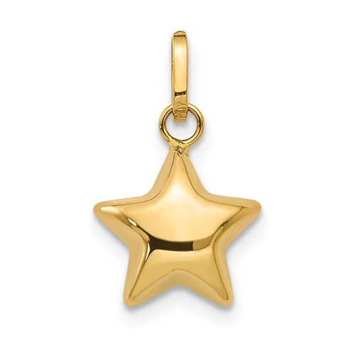 14kt Yellow Gold 3/8in Puffed Star Charm