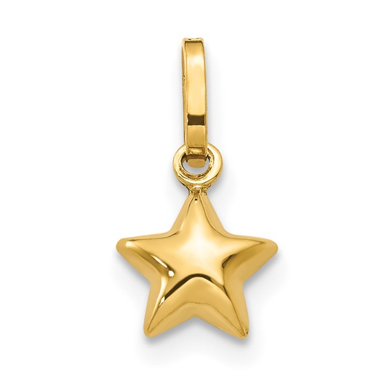 14kt Yellow Gold 3/16in Puffed Star Charm
