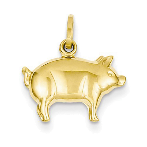 14kt Yellow Gold 3/8in Pig Charm