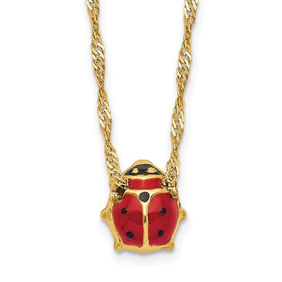 14kt Yellow Gold Enameled Ladybug 16in Necklace