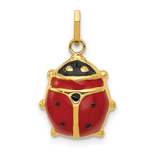 14kt Yellow Gold 1/2in Red Enameled Ladybug Charm