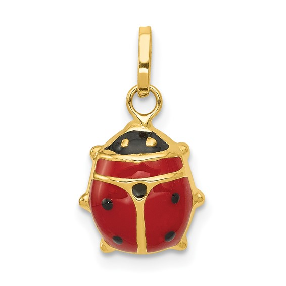 14kt Yellow Gold 3/8in Red Enameled Ladybug Charm
