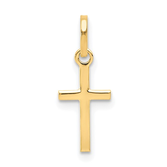 14kt Yellow Gold 1/2in Small Thin Cross Charm
