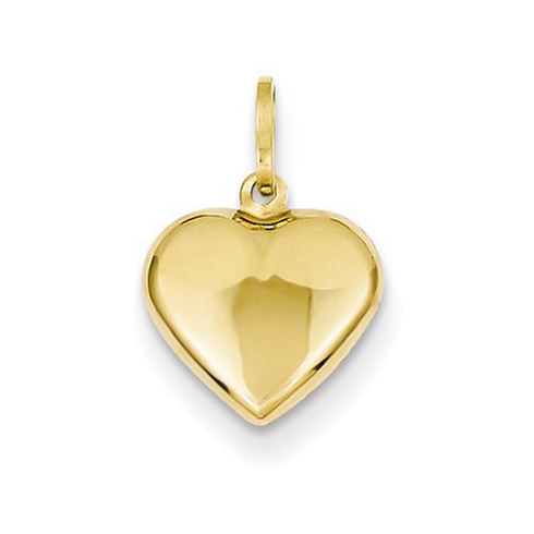 14kt Yellow Gold 3/8in Puffed Heart Charm