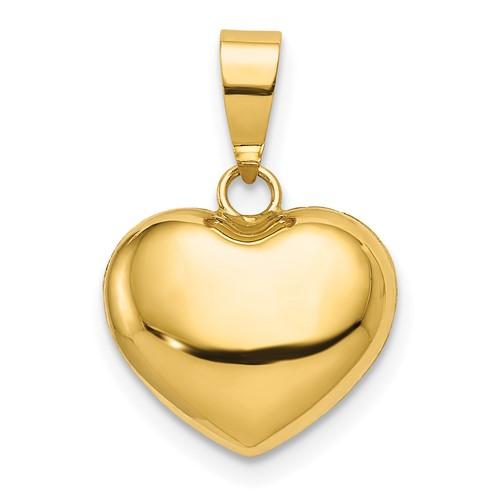 14kt Yellow Gold 3/8in Italian Puff Heart Charm
