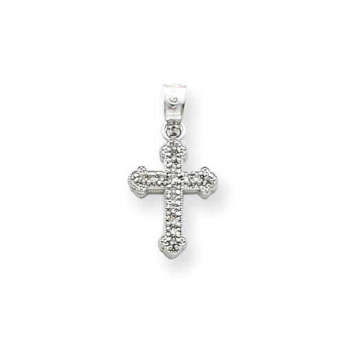 14kt White Gold 1/2in Diamond Budded Cross