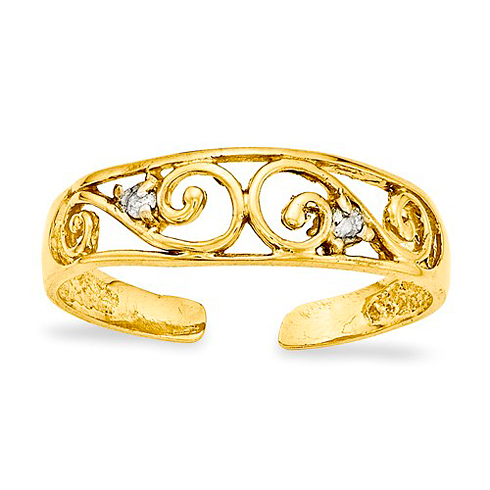 14kt Yellow Gold Scroll Toe Ring with Diamonds