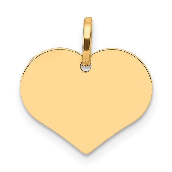 14kt Yellow Gold 1/2in Italian Flat Heart Charm