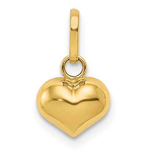 14kt Yellow Gold 1/4in Puffed Heart Charm