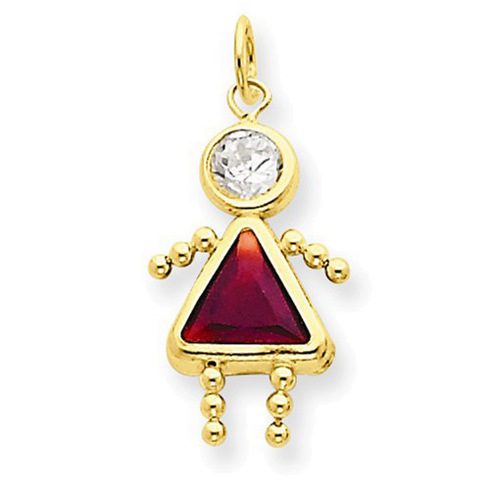 14kt Yellow Gold 5/8in January Girl CZ Birthstone Charm