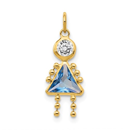 14kt Yellow Gold 5/8in March Girl CZ Birthstone Charm