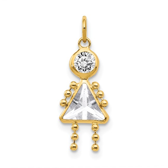 14kt Yellow Gold 5/8in April Girl CZ Birthstone Charm