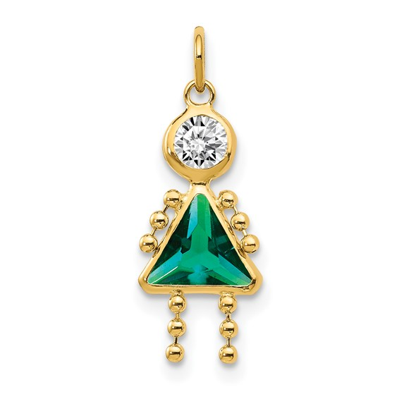 14kt Yellow Gold 5/8in May Girl CZ Birthstone Charm