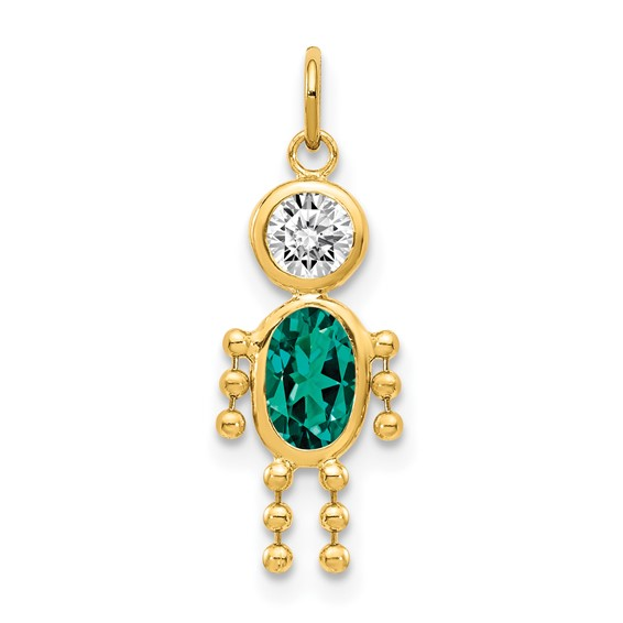 14kt Yellow Gold 5/8in May Boy CZ Birthstone Charm