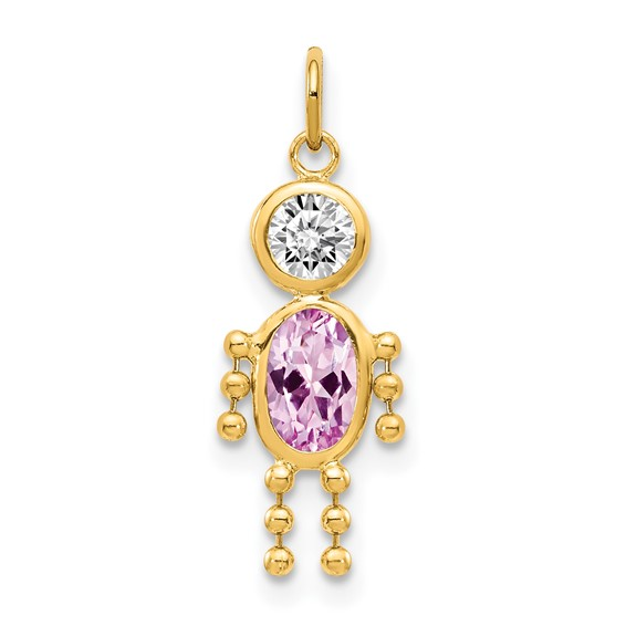 14kt Yellow Gold 5/8in June Boy CZ Birthstone Charm