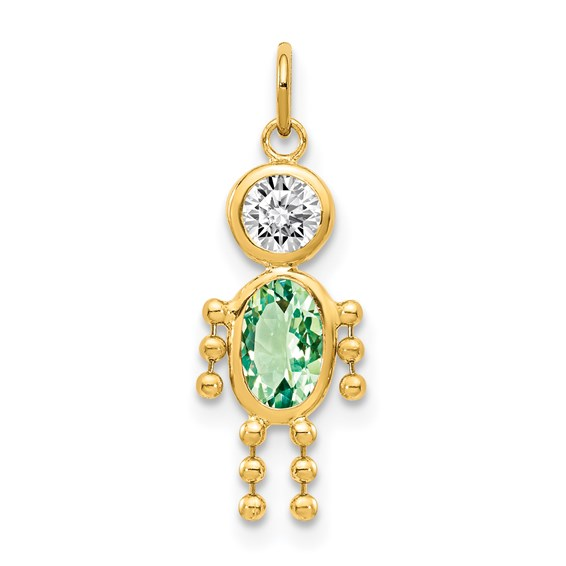 14kt Yellow Gold 5/8in August Boy CZ Birthstone Charm