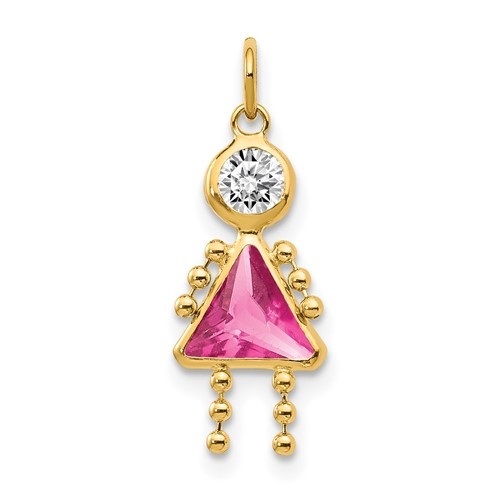 14kt Yellow Gold 5/8in October Girl CZ Birthstone Charm