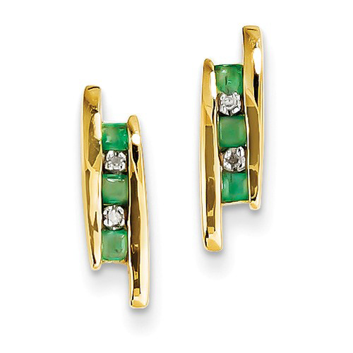 14kt Yellow Gold 3/10 ct Emerald 3-Stone Post Earrings with Diamonds