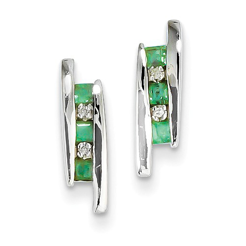 14kt White Gold 3/10 ct Emerald 3-Stone Post Earrings with Diamonds