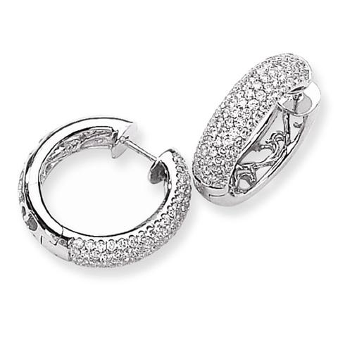 14kt White Gold 3 ct Diamond Pave Hoop Earrings