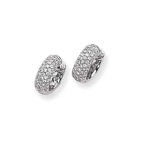 14kt White Gold 3/4 ct Diamond Pave Hoop Earrings