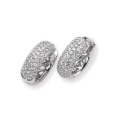 14kt White Gold 1 7/8 ct Diamond Pave Hoop Earrings